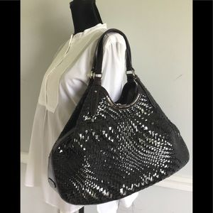 Cole Haan Patent Leather Woven Triangle Tote